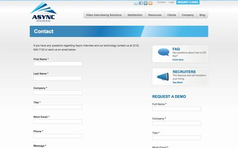 Screenshot of Contact Page asyncinterview.com - Video Interviewing Online | Contact — Async Interview - captured Sept. 30, 2014