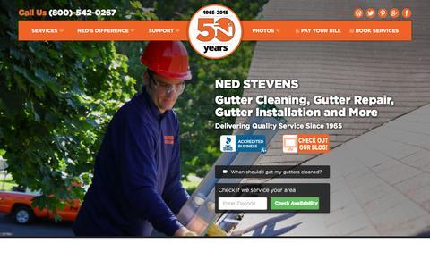 Screenshot of Home Page nedstevens.com - Ned Stevens Gutter Cleaning | Gutter Repair | Gutter Installation - captured Aug. 5, 2015
