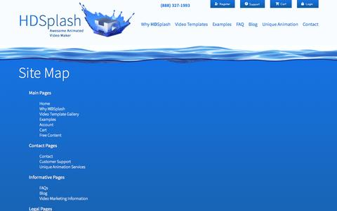 Screenshot of Site Map Page hdsplash.com - HDSplash Site Map - captured Oct. 28, 2014