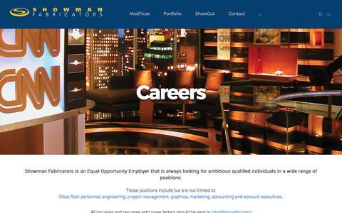 Screenshot of Jobs Page showfab.com - Careers - Showman Fabricators - captured Oct. 4, 2017