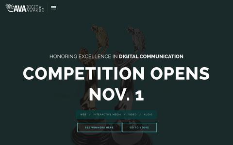 Screenshot of Home Page avaawards.com - AVA Digital Awards - captured Sept. 22, 2015