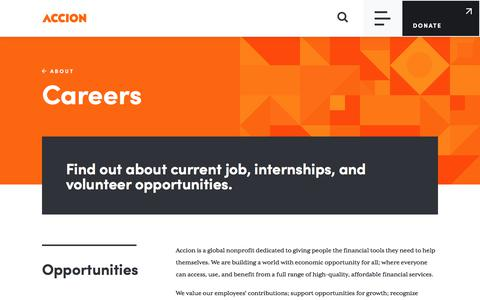 Screenshot of Jobs Page accion.org - Careers | Accion - captured July 10, 2019