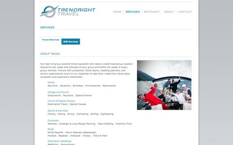Screenshot of Services Page trendrighttravel.com - TrendRight Travel - Full-Service Travel Agency - Vacations, Cruises, Private Jets, Caribbean - captured Oct. 9, 2014