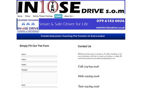 Screenshot of Contact Page in10sedrive.co.uk - Driving school in London, East London - captured Oct. 3, 2014