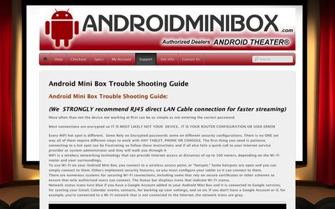Screenshot of Support Page androidminibox.com - Android Mini Box Trouble Shooting Guide - captured Feb. 6, 2016