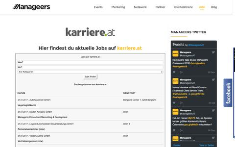 Screenshot of Jobs Page manageers.at - Jobs | Manageers Community - captured Jan. 27, 2017