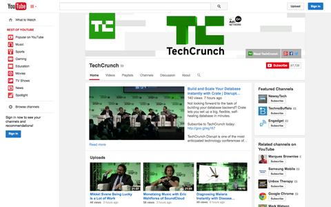 Screenshot of YouTube Page youtube.com - TechCrunch  - YouTube - captured Oct. 21, 2014
