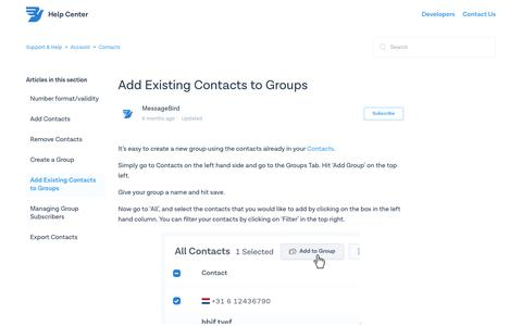 Add Existing Contacts to Groups – Support & Help