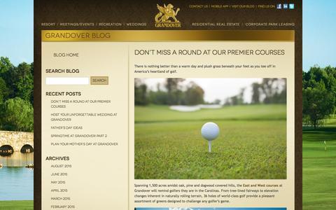 Screenshot of Blog grandover.com - North Carolina Golf Resort and Conference Center Blog - captured Sept. 18, 2015