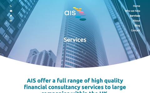 Screenshot of Services Page ais-cfo-solutions.com - Services | AIS Consulting - captured July 31, 2018