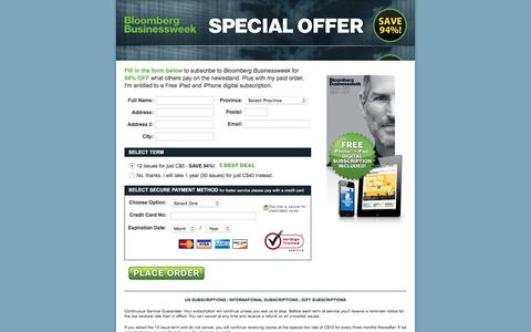 Screenshot of Landing Page businessweek.com - Bloomberg Businessweek | Special Offer Save 85% - captured Oct. 12, 2016