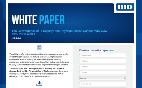 Screenshot of Landing Page hidglobal.com - HID Global - WP - The Convergence of IT Security and Physical Access Control- Why & How - captured Aug. 6, 2018