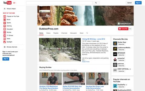 Screenshot of YouTube Page youtube.com - OutdoorPros.com  - YouTube - captured Nov. 2, 2014