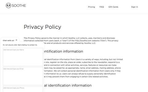 Privacy Policy | Soothe