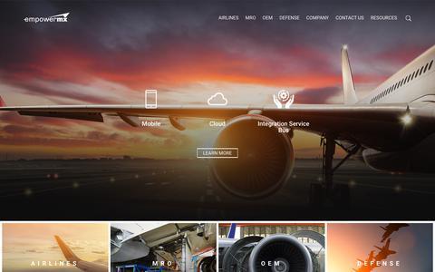 Screenshot of Home Page empowermx.com - Aviation Maintenance, Repair & Overhaul | Aircraft MRO Service Facilities - captured July 19, 2018