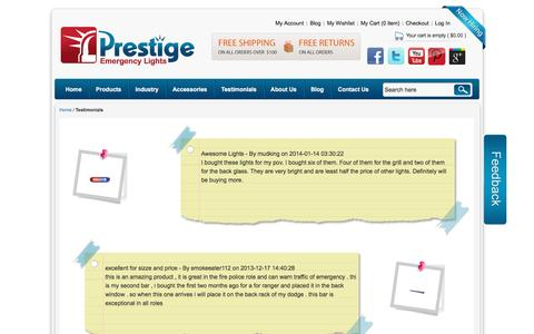 Screenshot of Testimonials Page prestigeemergencylights.com - Testimonials - captured July 15, 2016