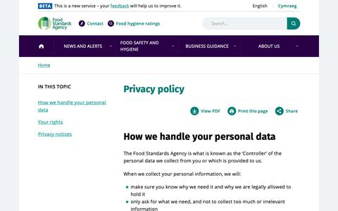 Screenshot of Privacy Page food.gov.uk - Privacy policy   Food Standards Agency - captured Oct. 10, 2018