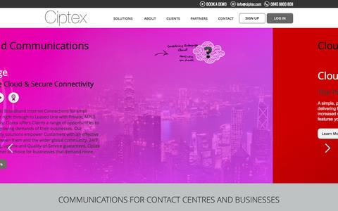 Screenshot of Home Page ciptex.com - Cloud Communications, Contact Centre, Telephones for Business - captured July 13, 2016