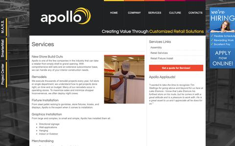 Screenshot of Services Page apolloretail.com - Services - captured Oct. 3, 2018