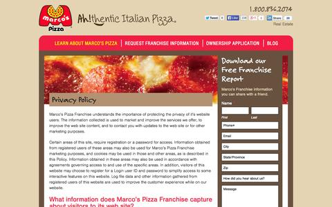 Screenshot of Privacy Page marcosfranchising.com - Marcos Pizza Franchising Privacy Policy | Marcos Pizza Franchising - captured Oct. 27, 2014