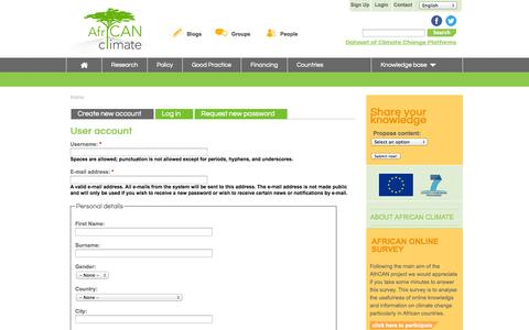 Screenshot of Signup Page africanclimate.net - User account | African Climate - captured Sept. 30, 2014