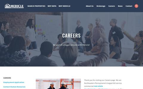 Screenshot of Jobs Page mericle.com - Careers | Mericle Commercial Real Estate Services - captured Oct. 17, 2018