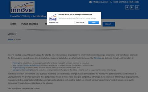 Screenshot of About Page innovel.net - About – Innovel – Training in Certified Scrum Master, Certified Scrum Product Owner, Scaled Agile, LeSS, Lean, Kanban, Enterprise Agile transition, Scrum Alliance CST - captured July 18, 2018