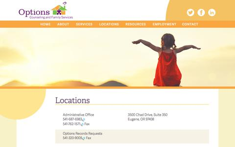 Screenshot of Locations Page options.org - Locations – Options Counseling & Family Services - captured Oct. 23, 2017