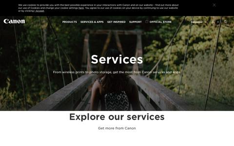 Screenshot of Services Page canon.co.uk - Digital Services - Canon UK - captured June 20, 2017