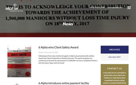 Screenshot of Press Page 6alpha.com - News Archives | 6 Alpha Associates - captured Oct. 20, 2018