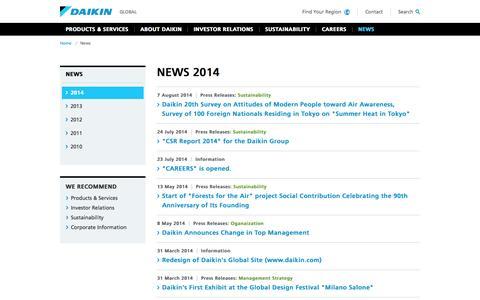 Screenshot of Press Page daikin.com - Daikin Global | News - captured Oct. 7, 2014