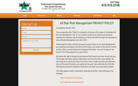 Screenshot of Privacy Page allstarpestmanagement.com - Privacy Policy | All Star Pest Management - captured May 29, 2017