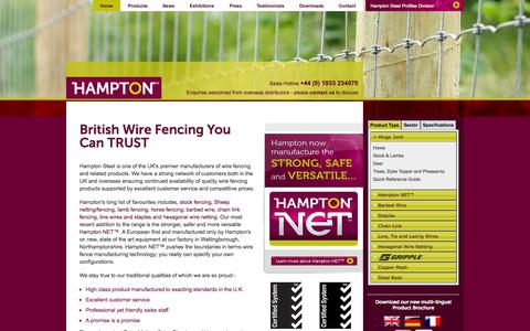 Screenshot of Home Page hamptonsteel.co.uk - UK Manufacturers of hinge joint stock fence & wire fencing products | Hampton Steel Limited - captured Oct. 2, 2014