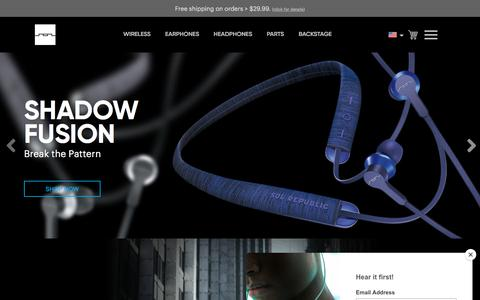 Screenshot of Home Page solrepublic.com - SOL REPUBLIC • Wireless Headphones & Earbuds | SOL REPUBLIC - captured July 4, 2019