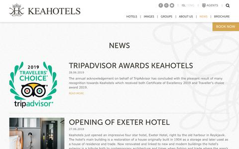 Screenshot of Press Page keahotels.is - News | Keahotels Iceland - Official Website - captured Aug. 15, 2019