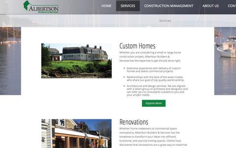 Screenshot of Services Page albertsonbuilders.com - Services - captured Nov. 20, 2016