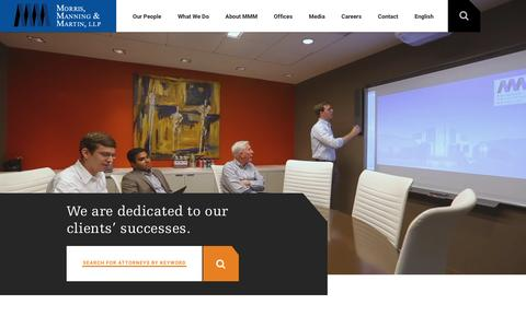 Screenshot of Home Page mmmlaw.com - International Full Service Law Firm: Morris, Manning & Martin LLP - captured Jan. 20, 2016