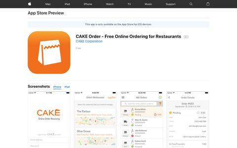 CAKE Order - Free Online Ordering for Restaurants on the AppStore
