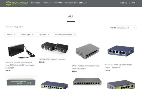 Screenshot of Products Page syncomtechnologies.com - All - Syncom Technologies - captured Sept. 21, 2018