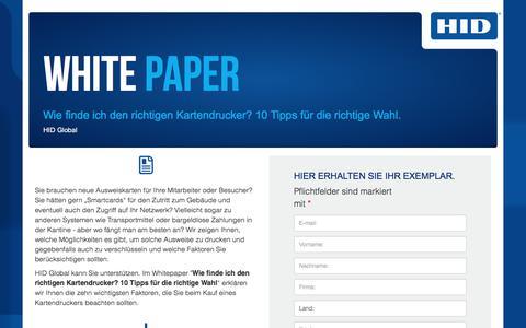 Screenshot of Landing Page hidglobal.com - HID Global - WP - Wie finde ich den richtigen Kartendrucker? - captured June 6, 2018