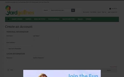 Screenshot of Signup Page yardgames.com.au - Create New Customer Account - captured Dec. 21, 2015