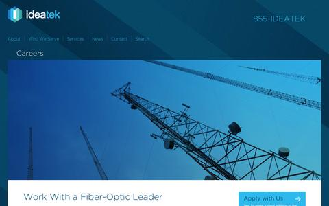 Screenshot of Jobs Page ideatek.com - Fiber-Optic Solutions Career Opportunities | IdeaTek - captured Oct. 27, 2014