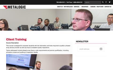 Screenshot of Signup Page metalogicinspection.com - Client Training | Metalogic Inspection Services - captured Oct. 27, 2014