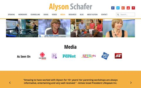 Screenshot of Press Page alysonschafer.com - Media | Alyson Schafer - captured May 29, 2017