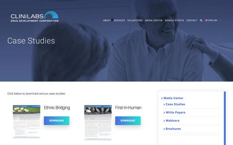 Screenshot of Case Studies Page clinilabs.com - Case Studies - Clinilabs, Inc. - captured July 19, 2018