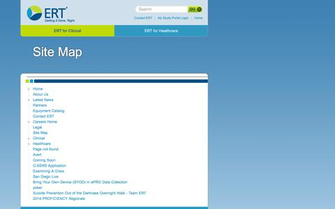 Screenshot of Site Map Page ert.com - - Getting It Done. Right. - captured Sept. 26, 2014