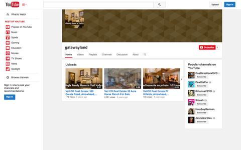 Screenshot of YouTube Page youtube.com - gatewayland  - YouTube - captured Oct. 22, 2014