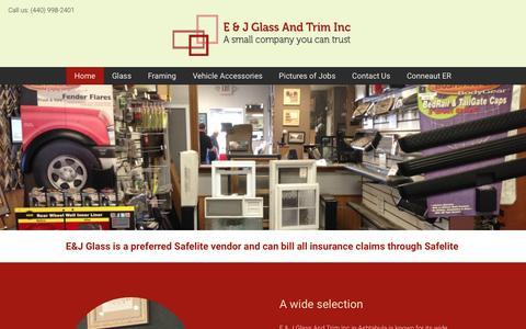 Screenshot of Home Page eandjglass.com - E & J Glass And Trim Inc | Glass and framing | Ashtabula, OH - captured Nov. 24, 2016