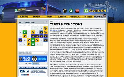 Screenshot of Terms Page tdgarden.com - Terms & Conditions | TD Garden - captured Oct. 26, 2014