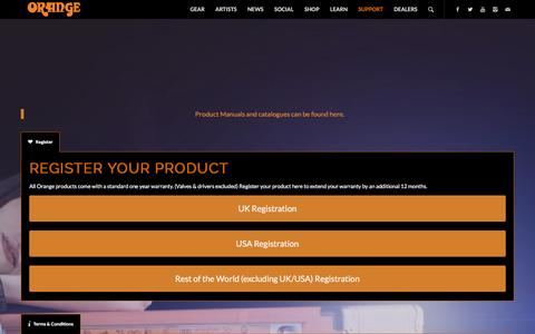 Screenshot of Support Page orangeamps.com - Orange Amps |   Support - captured Jan. 20, 2016